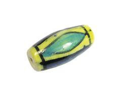 Z213623 213623 Cuenta ceramica forma irregular esmaltada amarilla con lineas verdes y azules Innspiro