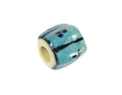 213626 Z213626 Cuenta ceramica forma irregular esmaltada azul con lineas azules Innspiro