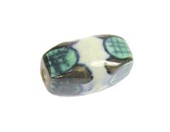 Z213629 213629 Cuenta ceramica forma irregular esmaltada blanca con dibujo verde y marron Innspiro