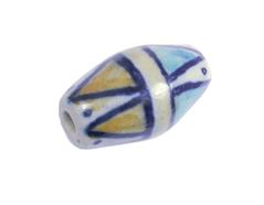 Z213630 213630 Cuenta ceramica oval esmaltada blanca con triangulos marrones y azules Innspiro