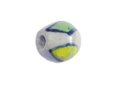 Z213631 213631 Cuenta ceramica oval esmaltada blanca con rombos verdes y amarillos Innspiro