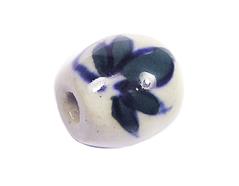 Z213632 213632 Cuenta ceramica oval esmaltada blanca con flores negras Innspiro