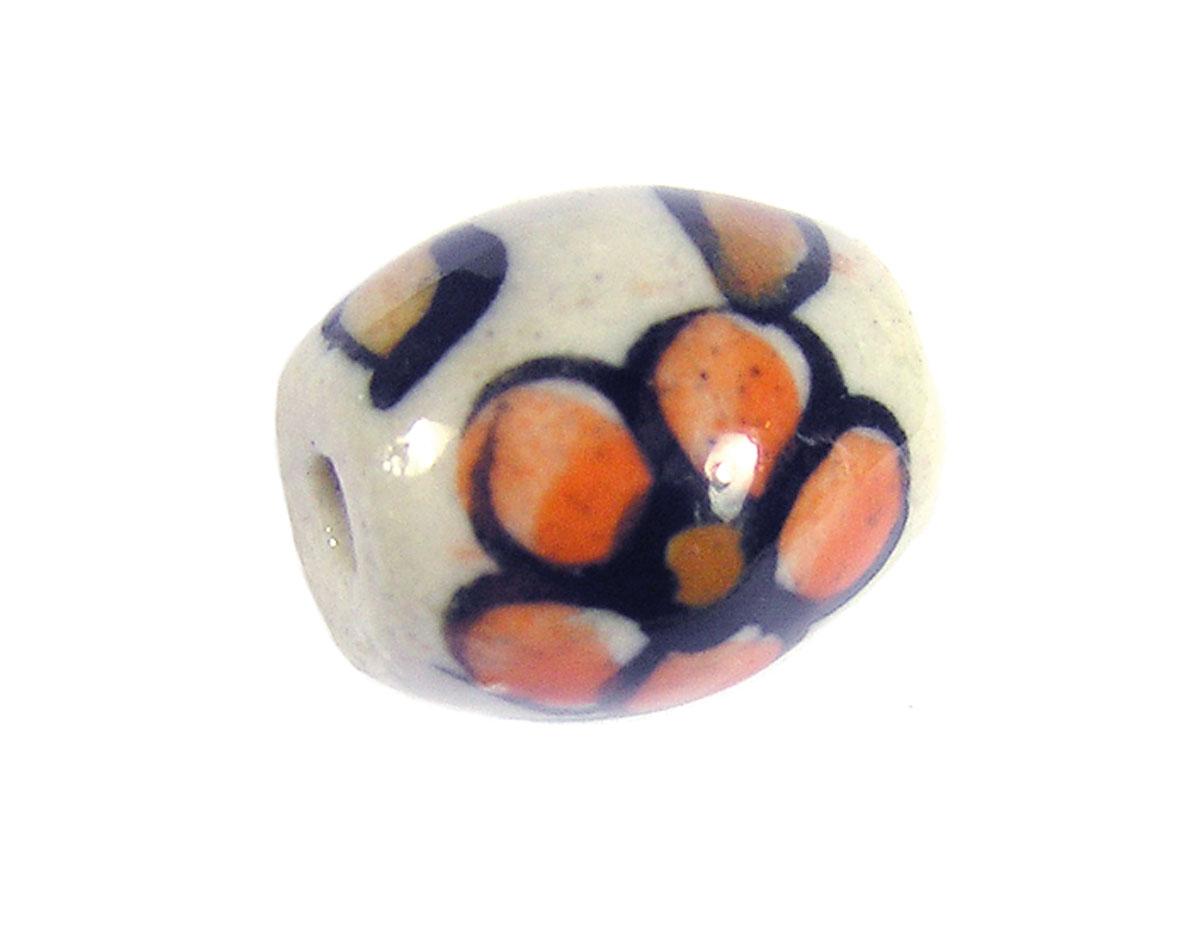 Z213634 213634 Cuenta ceramica oval esmaltada blanca con flor naranja Innspiro