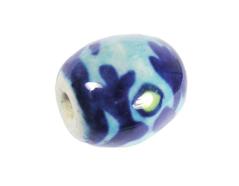 Z213635 213635 Cuenta ceramica oval esmaltada blanca con flor roja y azul Innspiro