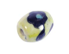Z213639 213639 Cuenta ceramica oval esmaltada amarilla con flor negra Innspiro