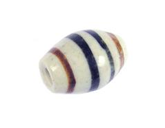 Z213643 213643 Cuenta ceramica oval esmaltada blanca con lineas negras y marrones Innspiro