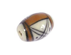 Z213644 213644 Cuenta ceramica oval esmaltada blanca con dibujo negro y marron Innspiro