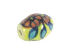 Z213645 213645 Cuenta ceramica oval esmaltada amarilla con flor roja y azul Innspiro