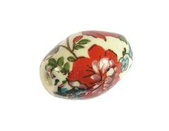 Z213648 213648 Cuenta ceramica oval decorada blanca con flores de colores Innspiro