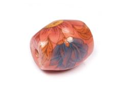 Z213651 213651 Cuenta ceramica oval decorada roja con flores rojas y azules Innspiro