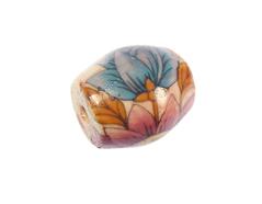 Z213652 213652 Cuenta ceramica oval decorada blanca con flores de colores Innspiro