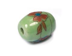 Z213653 213653 Cuenta ceramica oval decorada verde con flor roja Innspiro