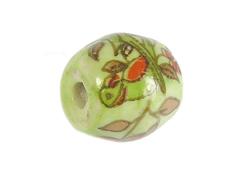 Z213654 213654 Cuenta ceramica oval decorada verde con pajaro verde Innspiro
