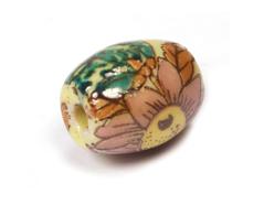 Z213656 213656 Cuenta ceramica oval decorada amarilla con flor marron Innspiro