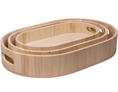 21626 Set de 3 bandejas madera de balsa ovales Innspiro