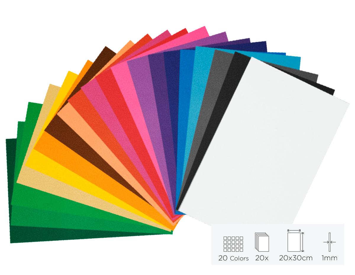 21799 Set 20 laminas goma eva surtido colores 20x30cm 1mm Innspiro