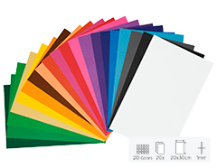 21799 Set 20 laminas goma eva surtido colores 20x30cm 1mm Thou