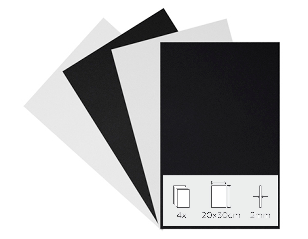 21890 Set 4 laminas goma eva blanco y negro 20x30cm 2mm Innspiro