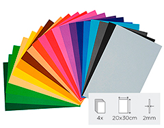 21899 Set 20 laminas goma eva surtido colores 20x30cm 2mm Thou