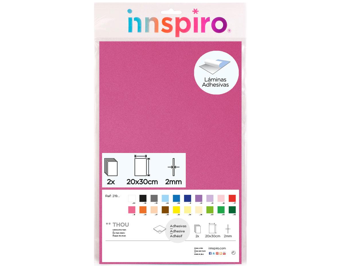 21918 Goma eva rosa fuerte adhesiva 20x30cm 2mm 2u Innspiro