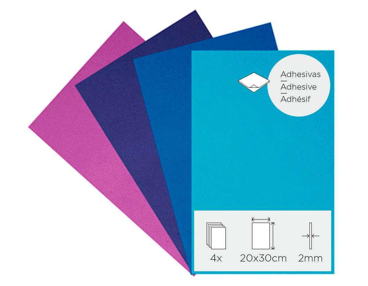 21992 Set 4 laminas goma eva Frios adhesivas 20x30cm 2mm Thou