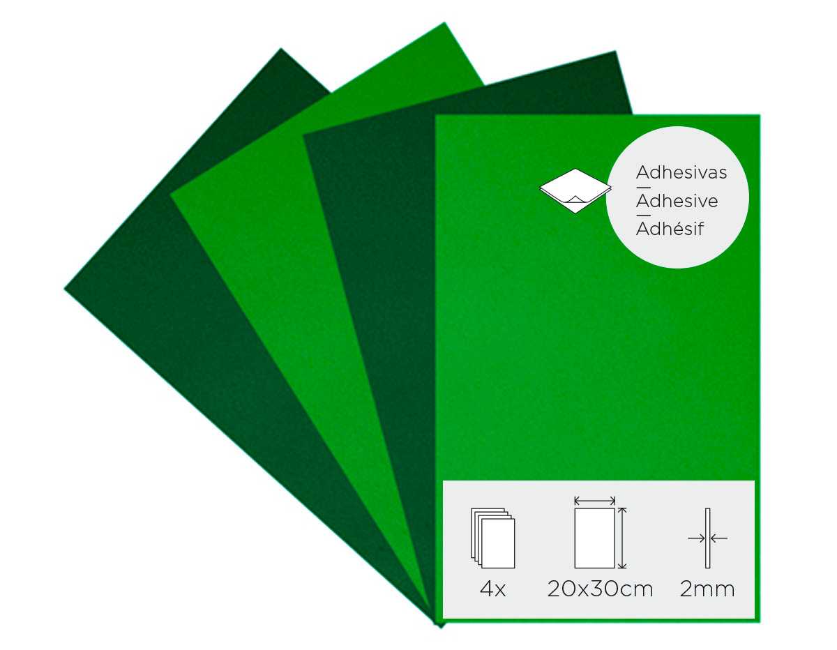 21994 Set 4 laminas goma eva Primavera adhesivas 20x30cm 2mm Innspiro