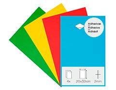 21995 Set 4 laminas goma eva Basicos adhesivas 20x30cm 2mm Thou