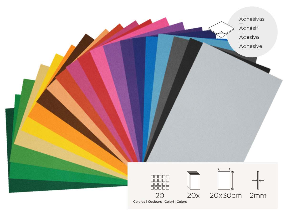 21999 Set 20 laminas goma eva surtido colores adhesivas 20x30cm 2mm Innspiro