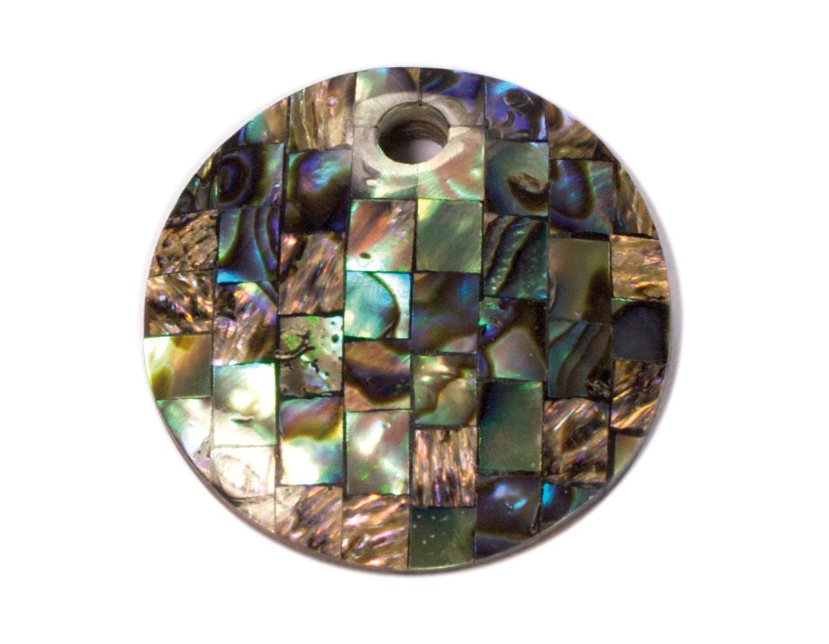 Z23116 Z23115 Z23114 23116 23115 23114 Colgante concha de madreperla disco mosaico negro verde azulado Innspiro