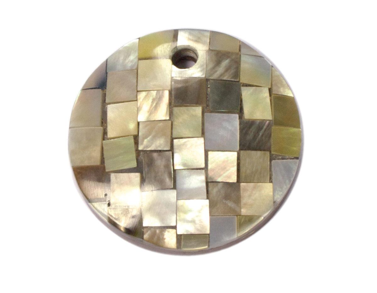 23215 Z23214 23214 Z23216 23216 Z23215 Colgante concha de madreperla disco mosaico gris metalizado Innspiro