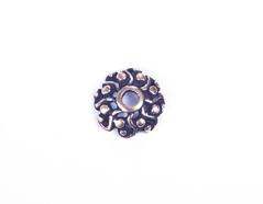 31633 Z31633 Tapa nudos metalico zamak sin agujero flor con relieve dorado envejecido Innspiro