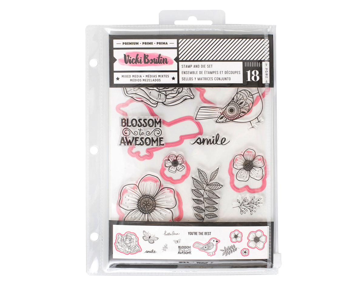 343894 Set 18 sellos y troqueles Vicky Boutin Floral Birds American Crafts