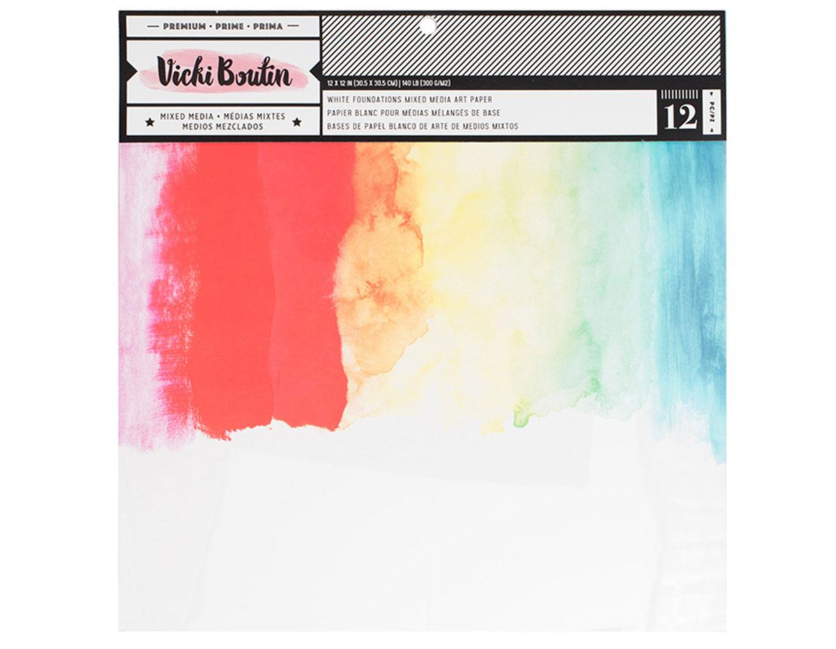 343917 Set 12 papeles blancos Foundations Vicky Boutin American Crafts