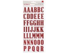 346630 Pegatinas alfabeto Alpha Thickers Red Glitter American Crafts