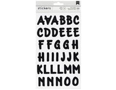 346640 Pegatinas alfabeto Alpha Brush Stickers Black American Crafts