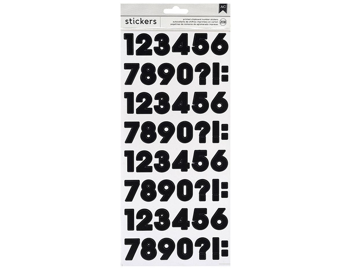346644 Pegatinas alfabeto Number Stickers Black American Crafts