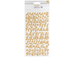 346651 Pegatinas alfabeto Alpha Stickers Gold Glitter American Crafts