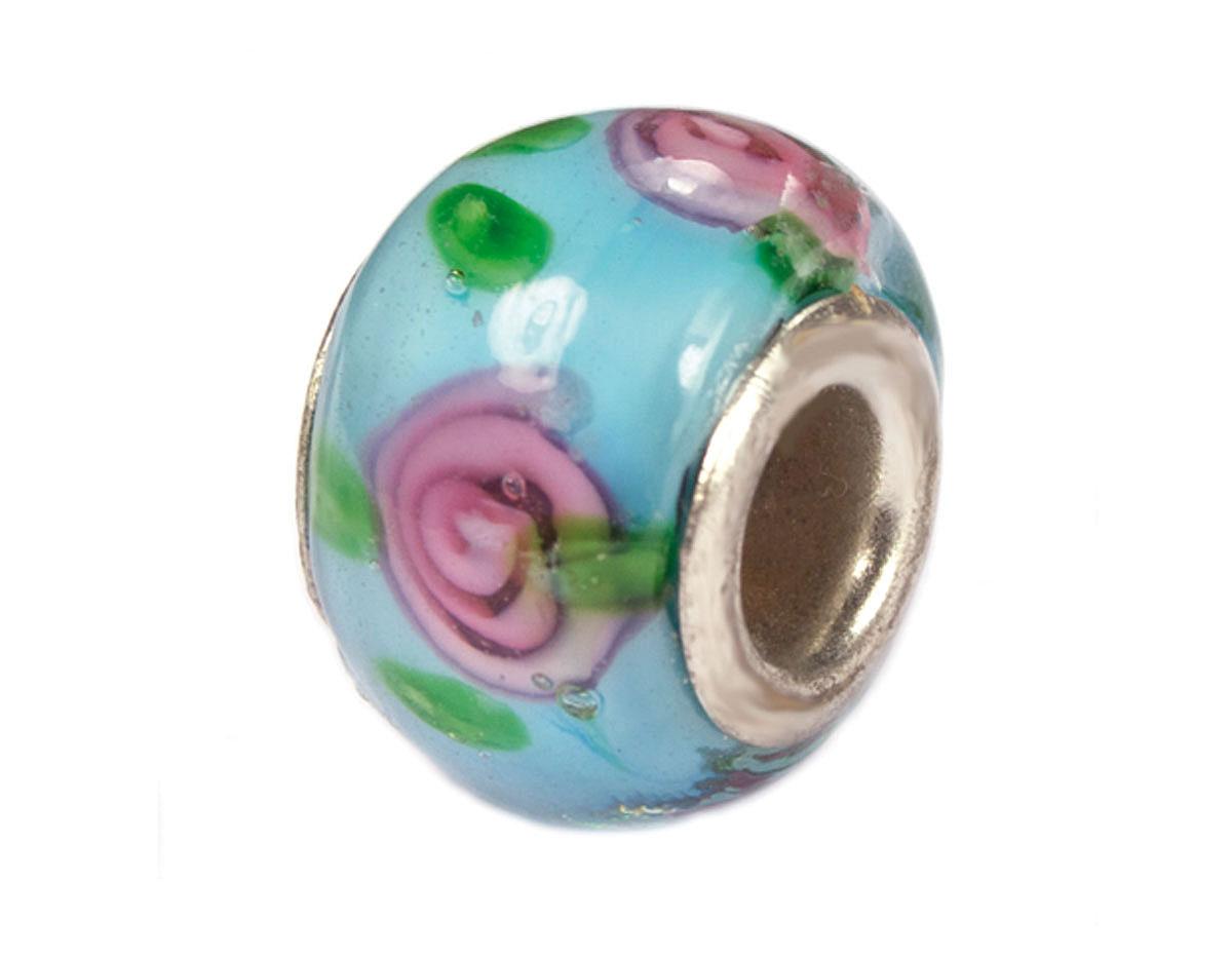 Z3741 3741 Cuenta cristal DO-LINK bola azul con flores Innspiro