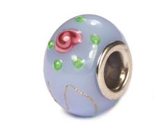 Z3751 3751 Cuenta cristal DO-LINK bola azul grisaceo con dibujo rosa Innspiro