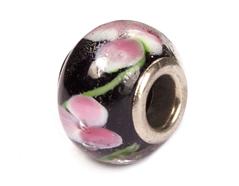 Z3757 3757 Cuenta cristal DO-LINK bola negro con flor Innspiro