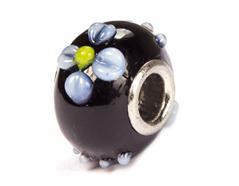 Z3758 3758 Cuenta cristal DO-LINK bola negro con relieve flor Innspiro