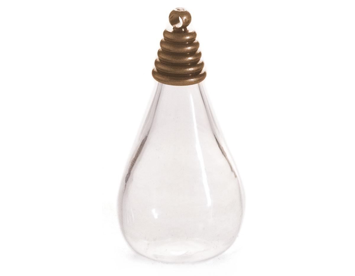 43317-AG Colgante vidrio gota transparente con cierre metalico dorado envejecido Innspiro
