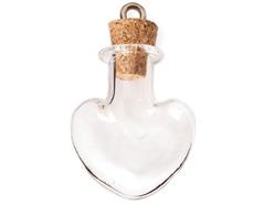 43323-03 Colgante vidrio corazon transparente con cierre corcho Innspiro