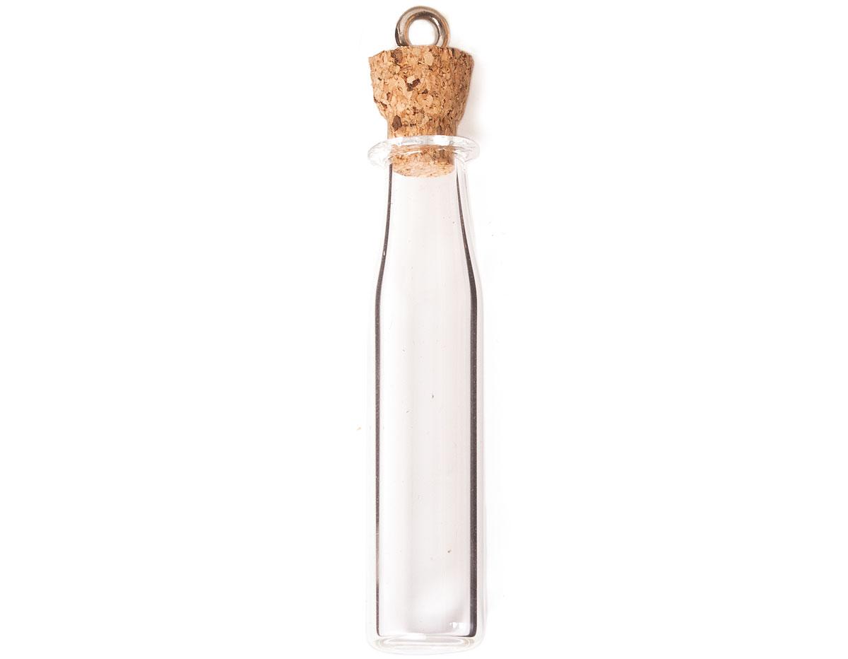 43323-08 Colgante vidrio botella rectangular transparente con cierre corcho Innspiro