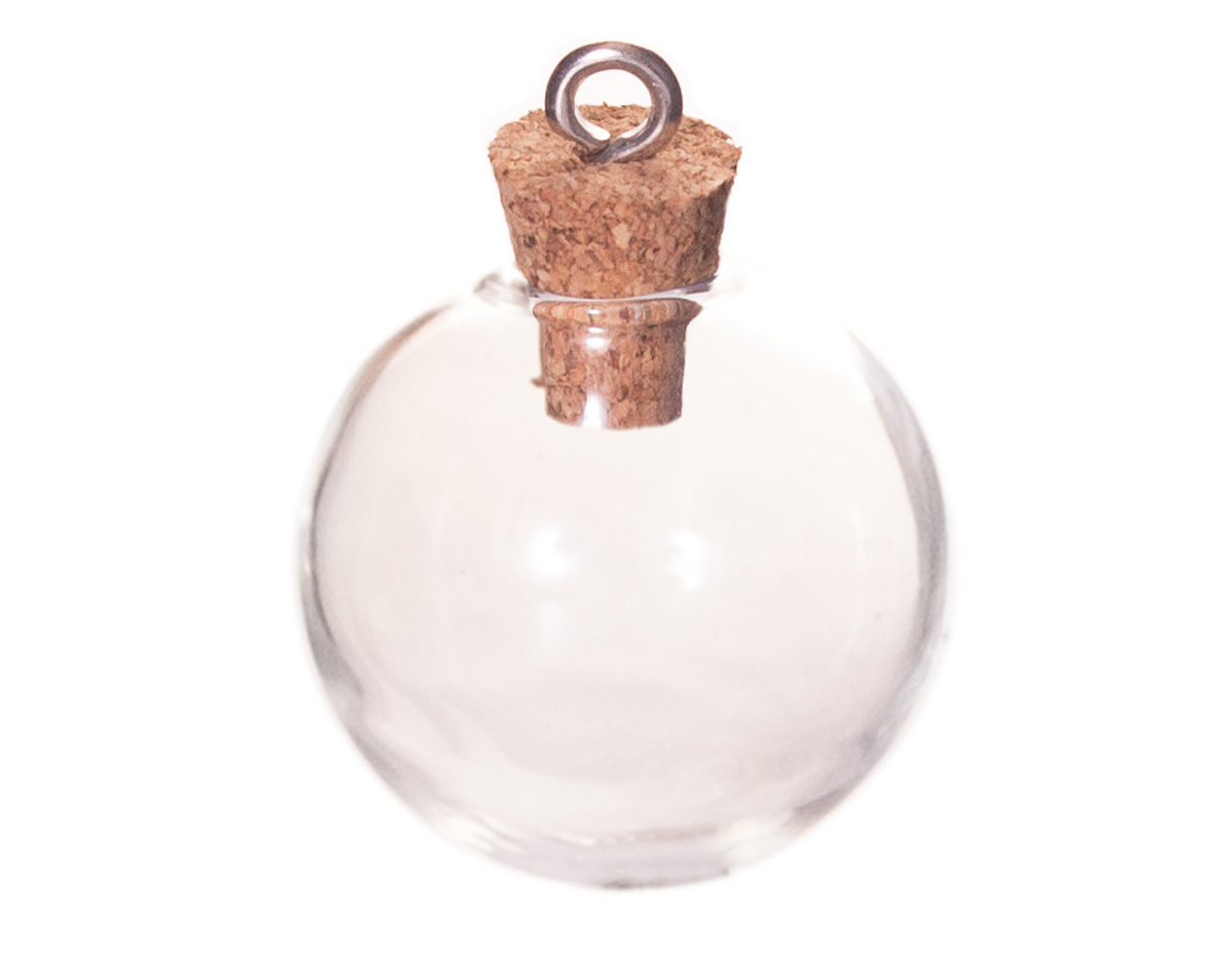 43323-12 Colgante vidrio botella bola transparente con cierre corcho Innspiro