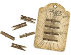4500421 Pinzas metalicas Antique brass con mensajes Graphic45