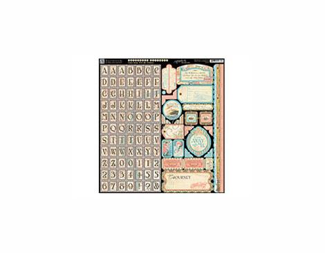 4500927 Hoja adhesiva con etiquetas y alfabeto pre-cortadas COME AWAY WITH ME Graphic45