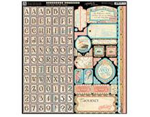 4500927 Hoja adhesiva con etiquetas y alfabeto pre-cortadas COME AWAY WITH ME Graphic45 - Ítem