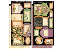 4500947 Set 2 hojas de papel doble cara con flores pre-cortadas AN EERIE TALE Graphic45