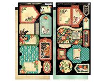 4500971 Set 2 hojas de papel doble cara con etiquetas pre-cortadas RAINING CATS AND DOGS Graphic45
